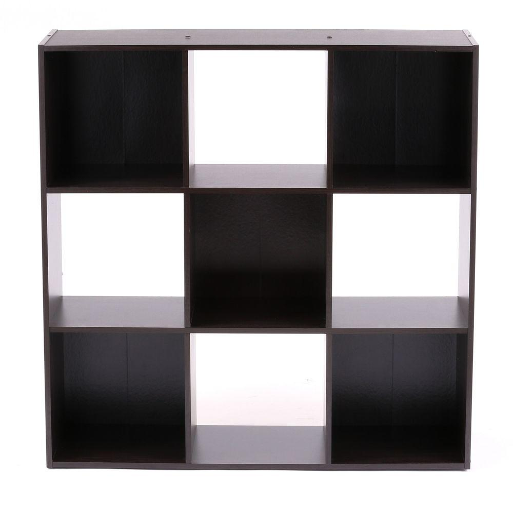 36 in. x 36 in. Espresso Stackable 9-Cube Organizer
