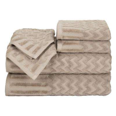 Chevron Egyptian Cotton Towel Set in Taupe (6-Piece)