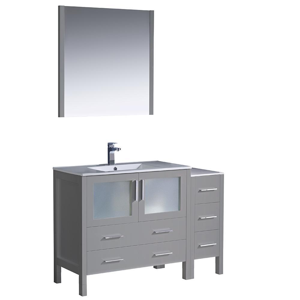 Fresca Torino 48 in. Bath Vanity in Gray with Ceramic Vanity Top in ...