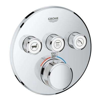 Grohtherm Smart Control Triple Function Thermostatic Trim with Control Module in Starlight Chrome