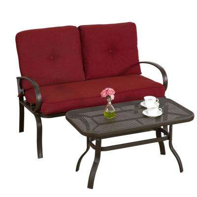 Leonard Brown 2-Piece Metal Patio Conversation Set with Red Cushions
