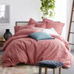 Vintage Wash 3-Piece 200-Thread Count Organic Cotton Percale Queen Duvet Cover Set in Terracotta