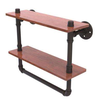 Pipeline Collection 16 in. Double Ironwood Shelf with Towel Bar in Oil Rubbed Bronze