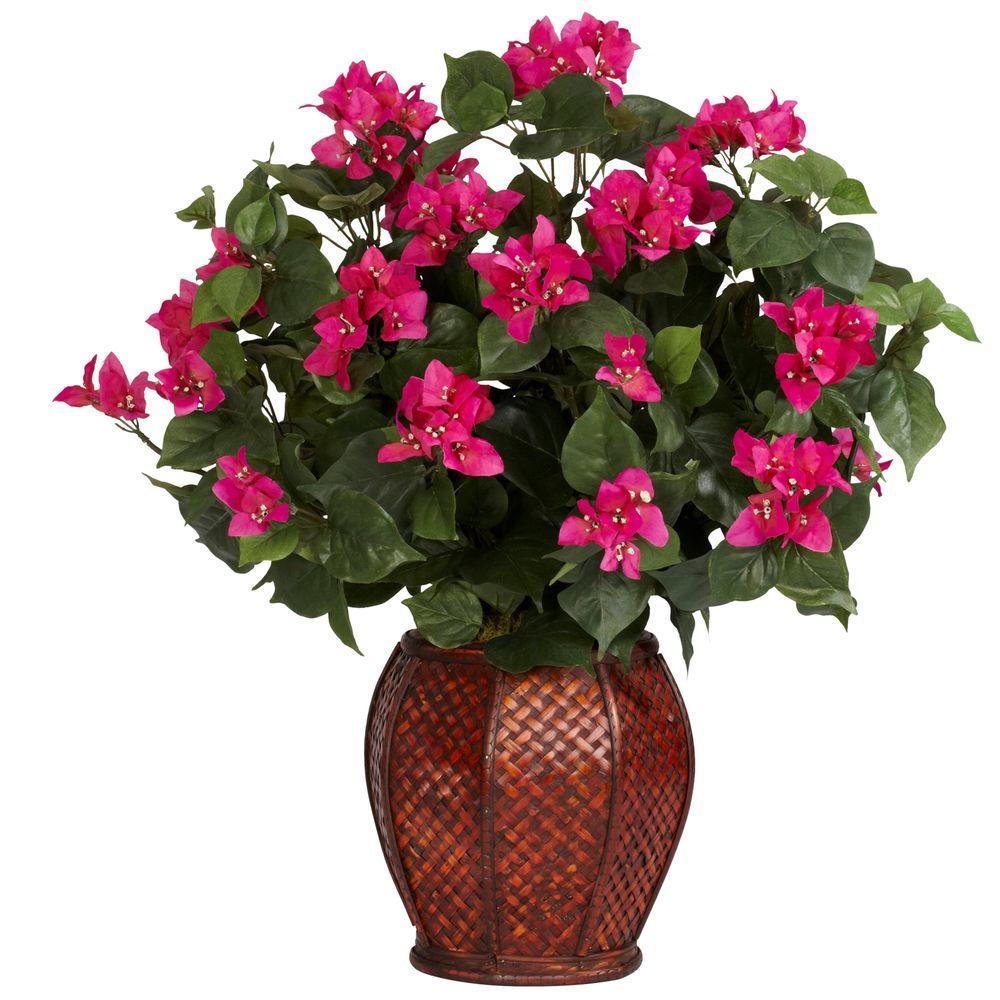 Nearly Natural 24.5 in. H Green Bougainvillea with Vase Silk Plant
