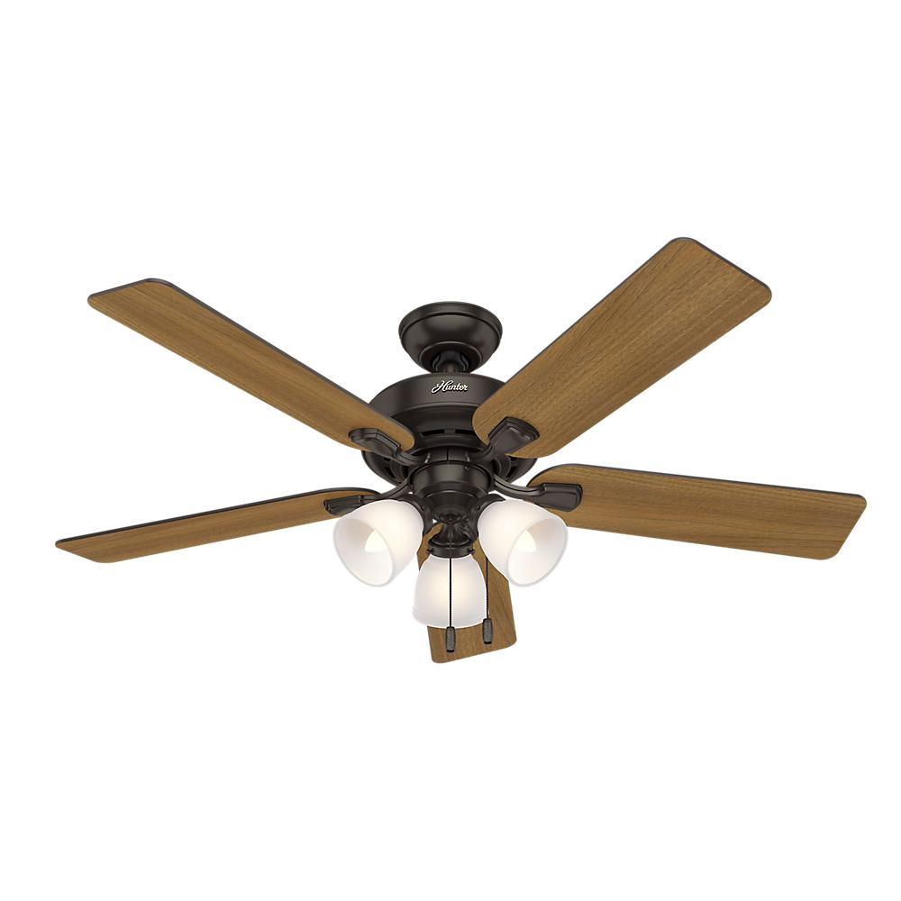 Hunter Pro Desk 52 In 3 Light Indoor Premier Bronze Ceiling Fan