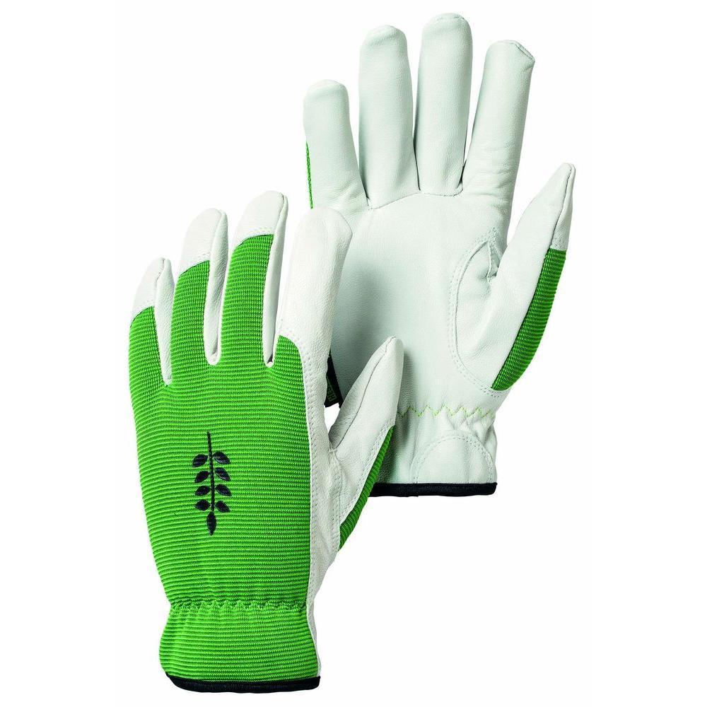 Kobolt Garden Size 8 Medium Versatile and Flexible Goatskin Leather Gloves in Green/White