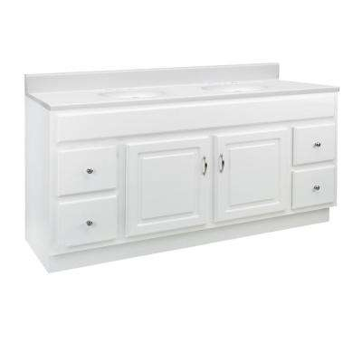 60 in. x 21 in. x 33 in. 2-Door 4-Drawer White Vanity with 8 in. Widespread Solid White CM Vanity Top with Double Basin