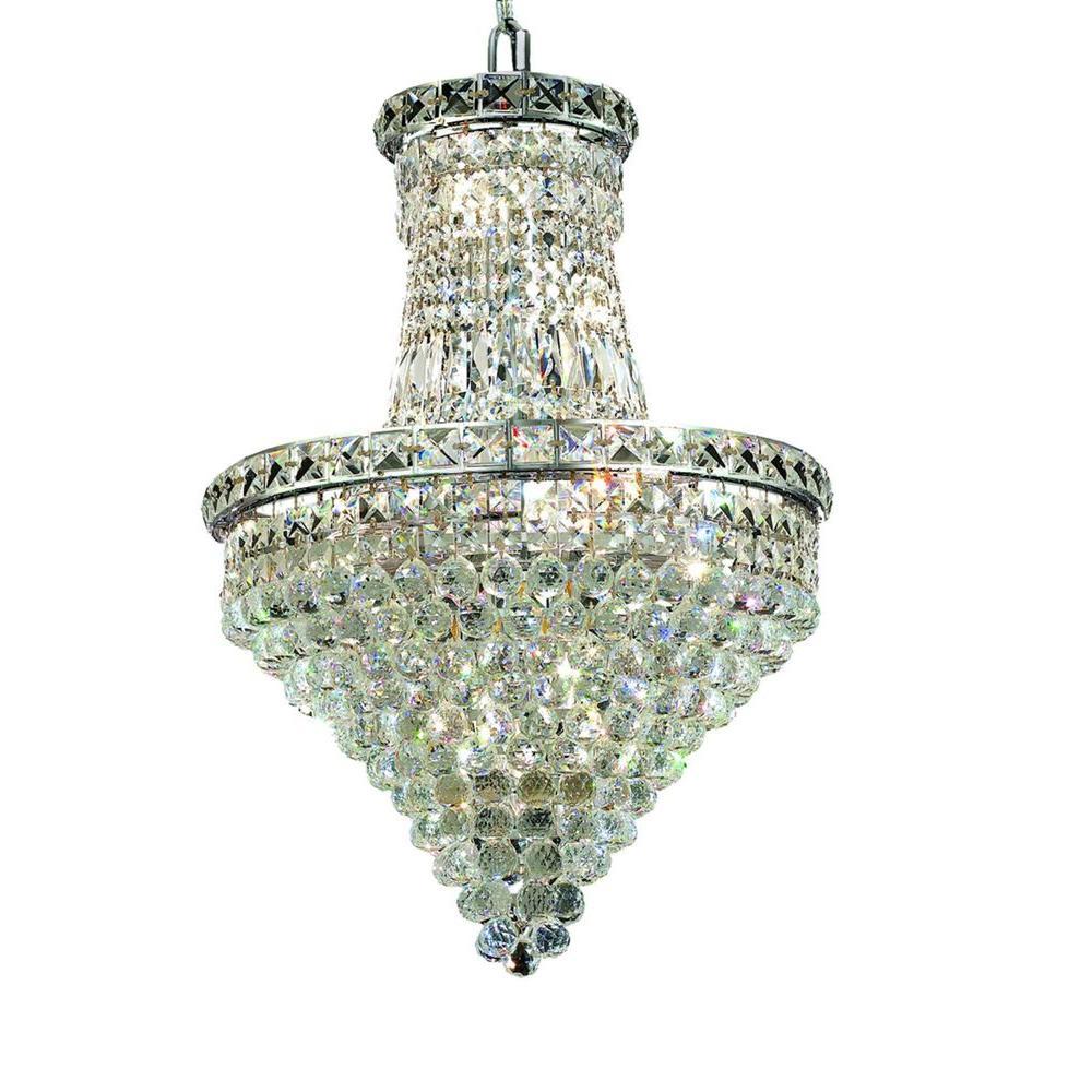 Elegant Lighting 12-Light Chrome Chandelier with Clear Crystal ...
