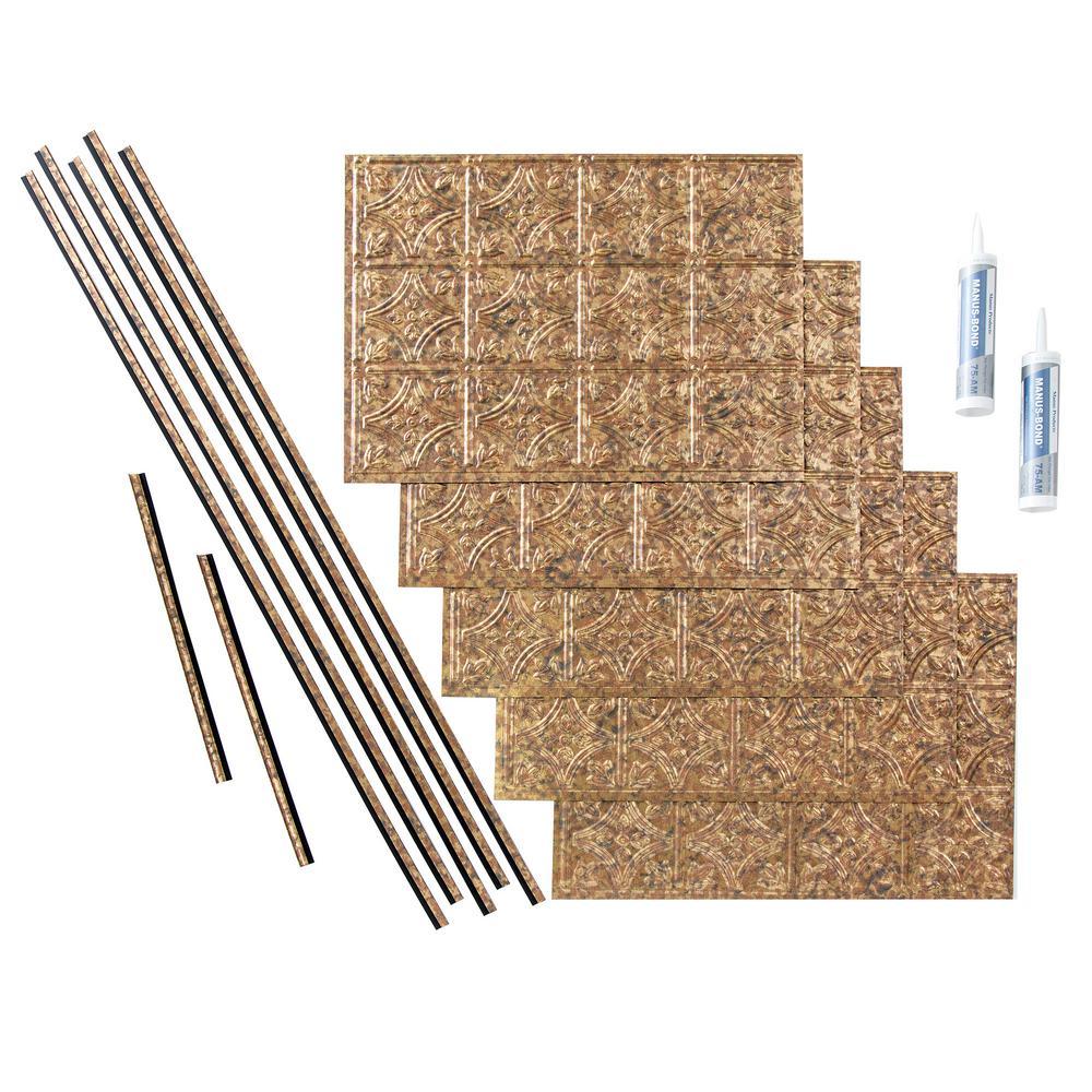 Fasade Traditional 1 18 In X 24 In Bermuda Bronze Vinyl Decorative Wall Tile Backsplash 15 Sq Ft Kit N50 17 The Home Depot