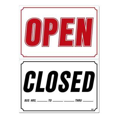 33 in. x 22 in. Open/Closed Sign Printed on More Durable, Thicker, Longer Lasting Styrene Plastic