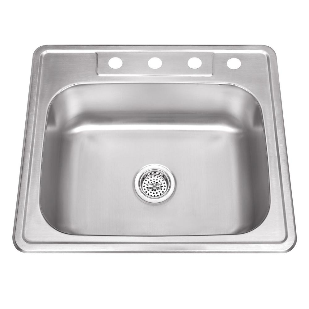 Cahaba Drop-In Stainless Steel 25 in. 4-Hole Single Bowl Kitchen Sink