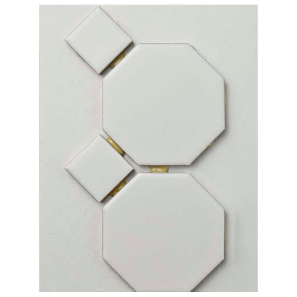 Merola Tile Metro Octagon Matte White with Dot Porcelain Mosaic Tile ...