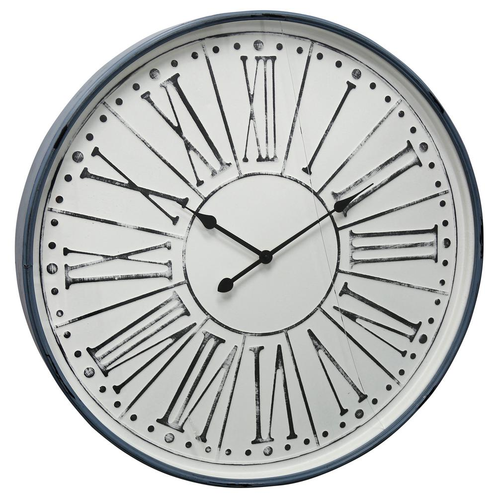 StyleCraft Farmhouse White Wash, Black, Blue, Clear Roman Numeral Analog Clock was $166.99 now $67.12 (60.0% off)