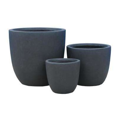 17 in. Tall Charcoal Lightweight Concrete Round Modern Seamless Outdoor Planter (Set of 3)