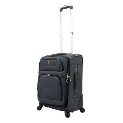 20 in. Gray and Black Spinner Suitcase