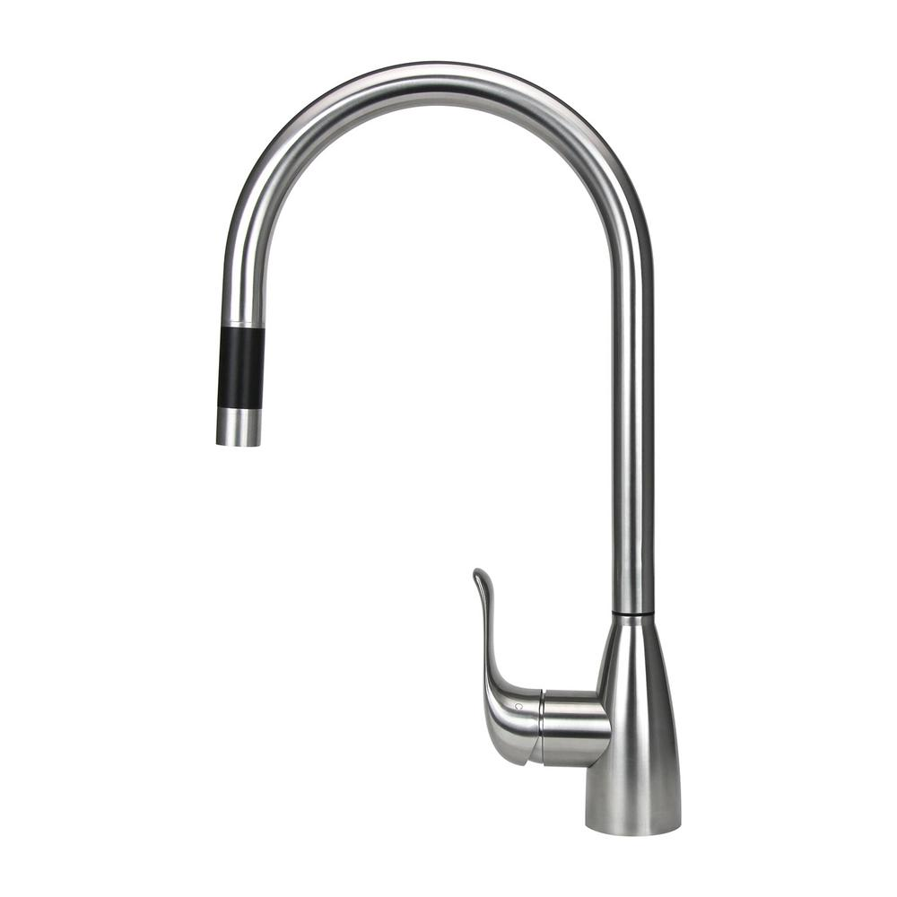 16.7 in. Single-Handle Pull-Out Sprayer Kitchen Faucet in Stainless Steel