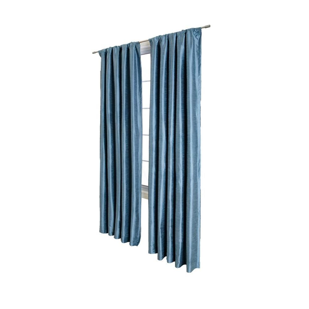 Home Decorators Collection Sheer Antique Blue Cassanova Rod Pocket Curtain - 54 in.W x 84 in. L