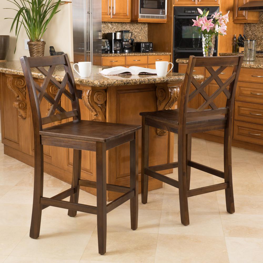 Harmon 26.18 in. Brown Acacia Counter Chair