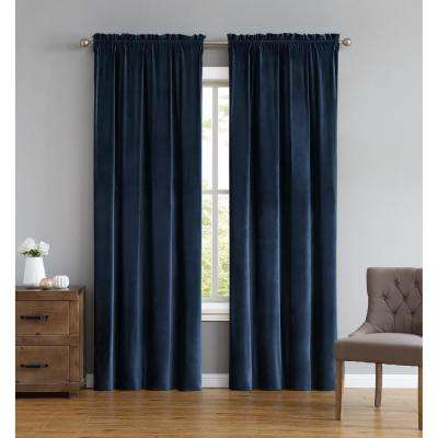 Everyday Pleated Velvet Drape Sets Navy Drape Set