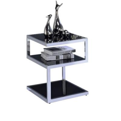 Amelia Black Chrome Glass Alyea End Table