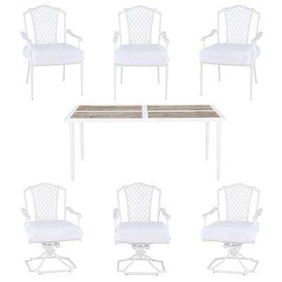 Alveranda Custom 7-Piece Metal Outdoor Dining Set with Cushions Included, Choose Your Own Color