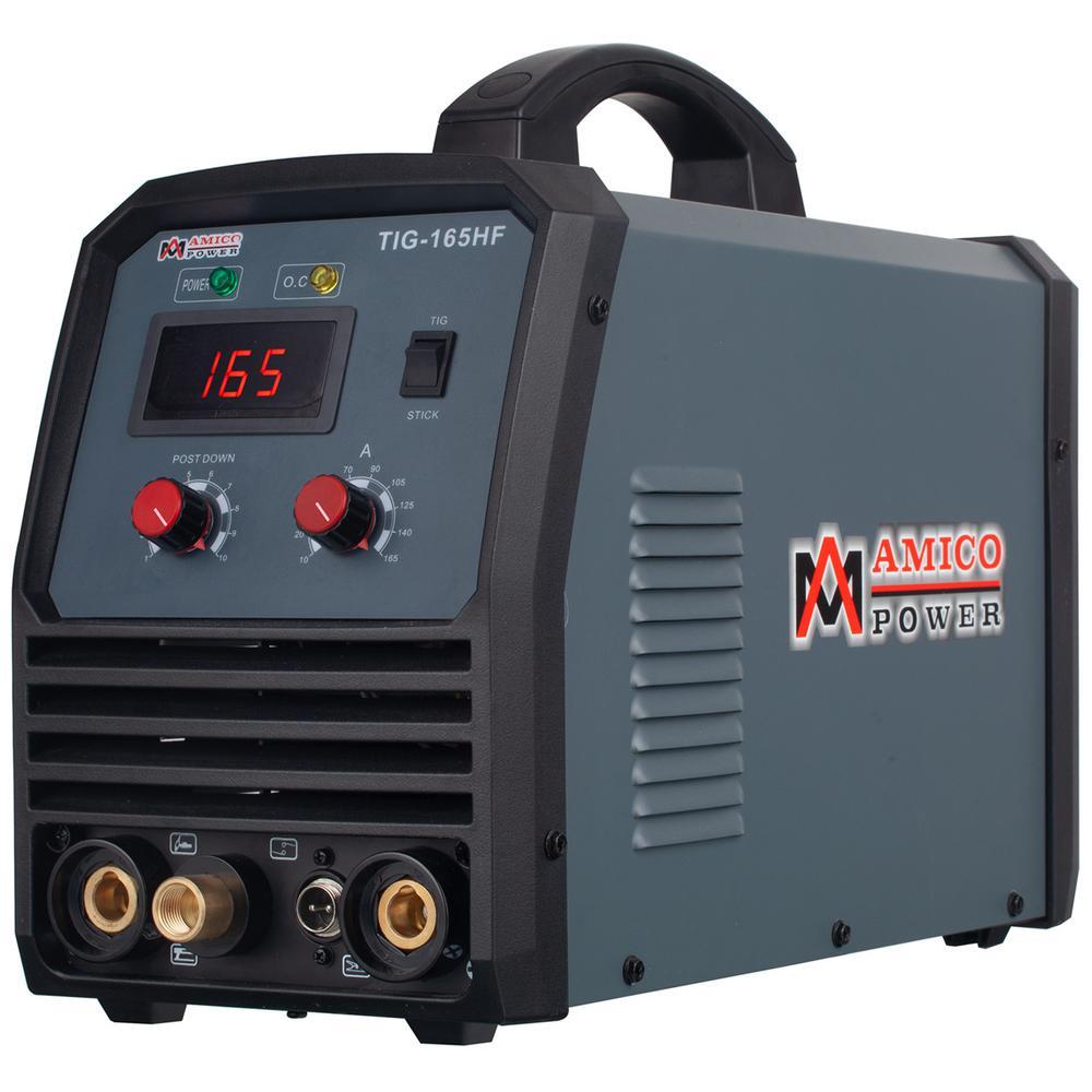 AMICO POWER 160 Amp. TIG Stick Arc DC Inverter Welder with 95-Volt to 260-Volt Wide Voltage Welding, 80% Duty Cycle