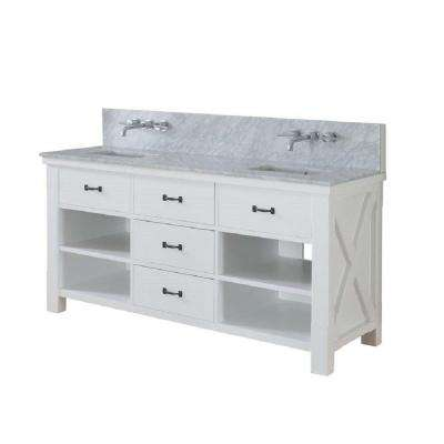 Xtraordinary Spa Premium 70 in. Double Vanity in Pearl White with Marble Vanity Top in Carrara White