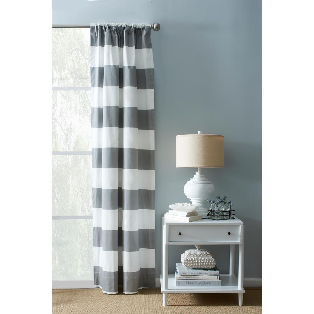 120 in. Cotton Grey and White Cabana Stripe 100% Twill Rod Pocket Window Panel