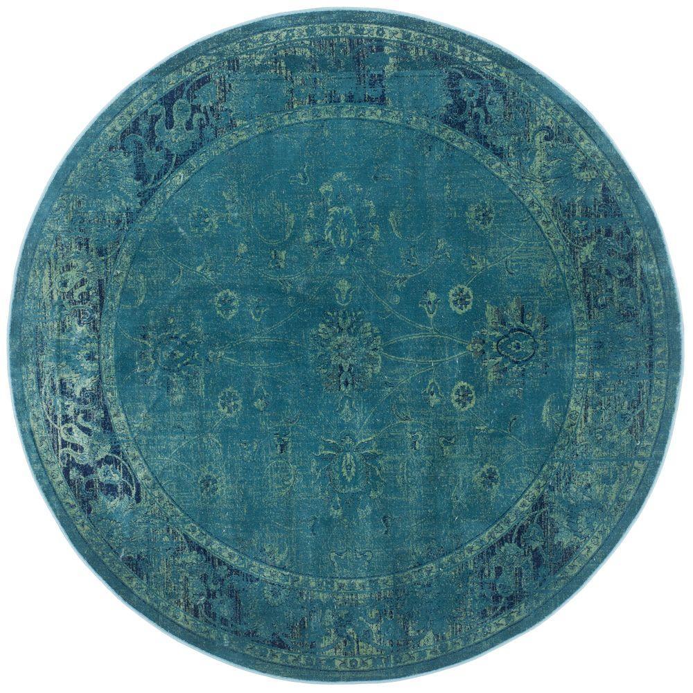 Safavieh Vintage Turquoise/Multi 6 Ft. X 6 Ft. Round Area