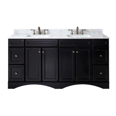 Virtu USA Talisa 72 in. W Double Bath Vanity in Espresso with Marble Vanity Top and Square Basin with Faucet