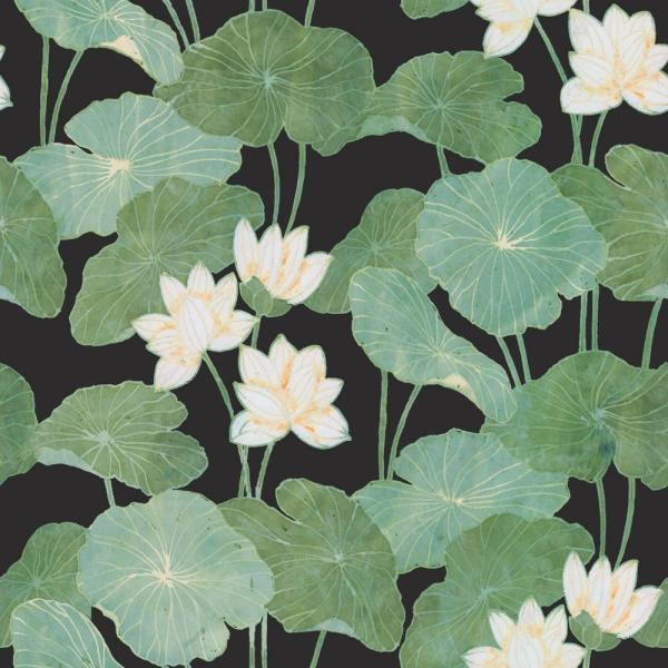 28.29 sq. ft. Black Lily Pads Peel and Stick Wallpaper