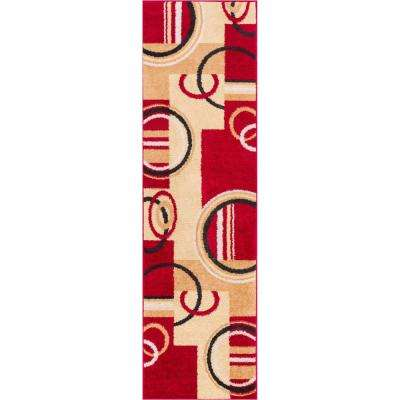 Mystic Boombastic Red 2 ft. x 7 ft. Geometric Abstract Scrolls and Squares Modern Runner Rug