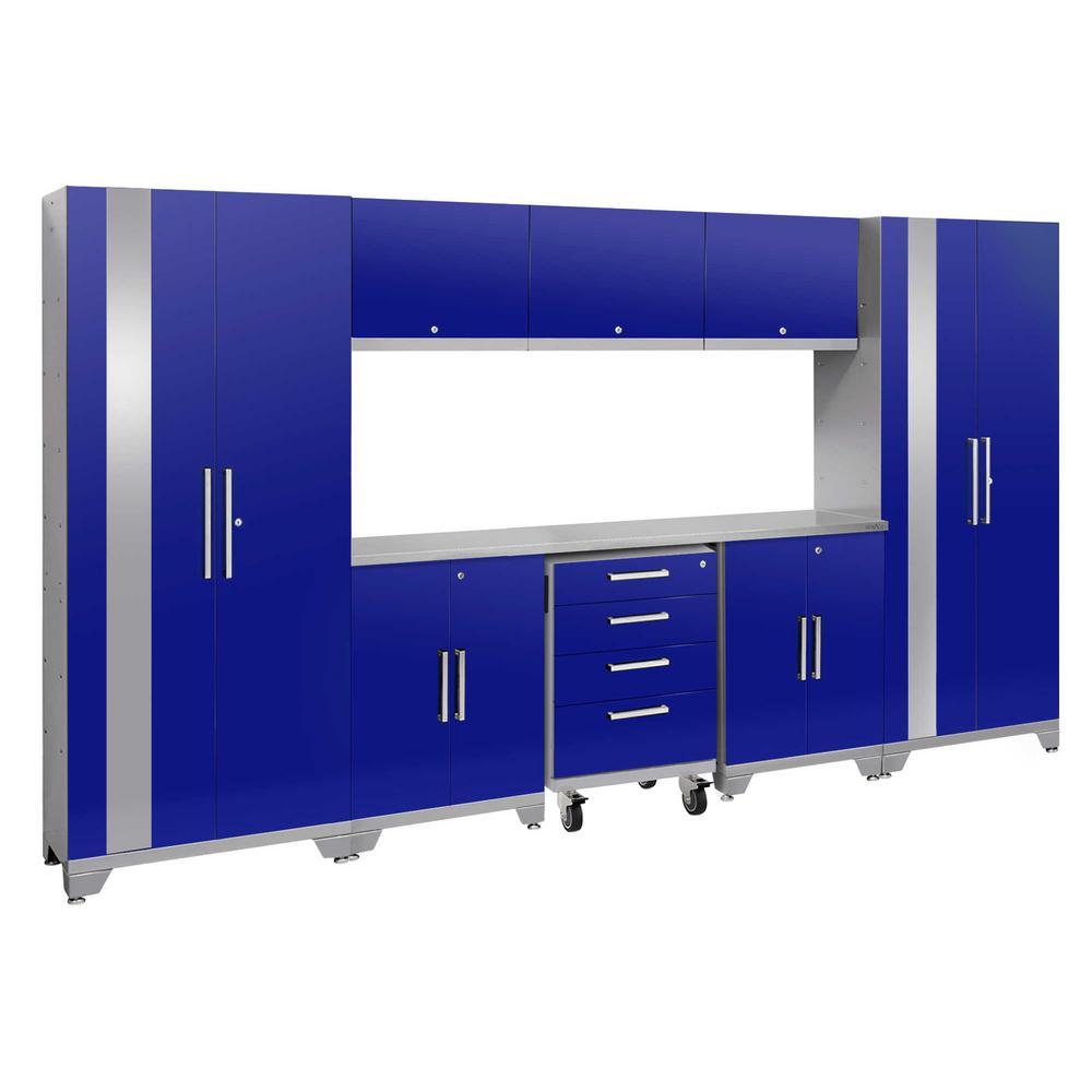 Performance 2.0 77.25 in. H x 132 in. W x 18 in. D Steel Stainless Steel Worktop Cabinet Set in Blue (9-Piece)