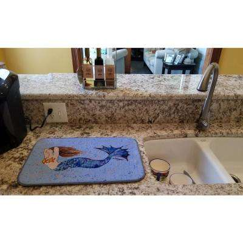 14 in. x 21 in. Multicolor Mermaid  Dish Drying Mat