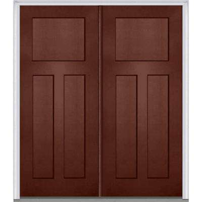 red front doors. 64 in  x 80 Right Hand Inswing Craftsman 3 Panel Shaker Red Front Doors Exterior The Home Depot
