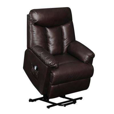 Brown Renu Leather Lift Wall Hugger Recliner