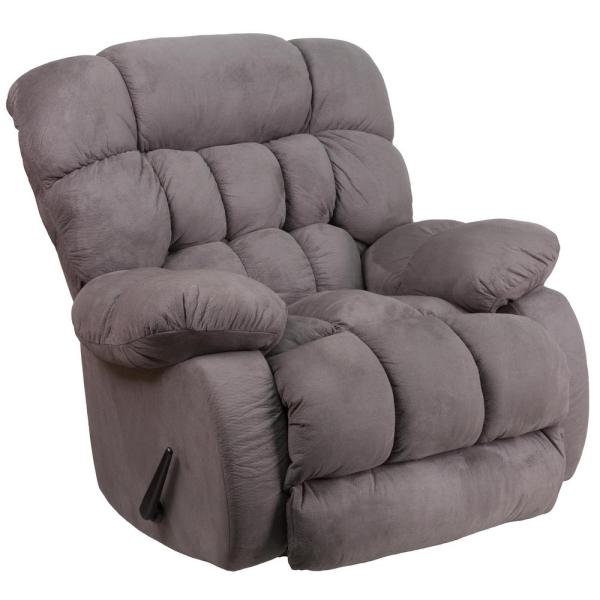 Contemporary Softsuede Graphite Microfiber Rocker Recliner By Flash Furniture