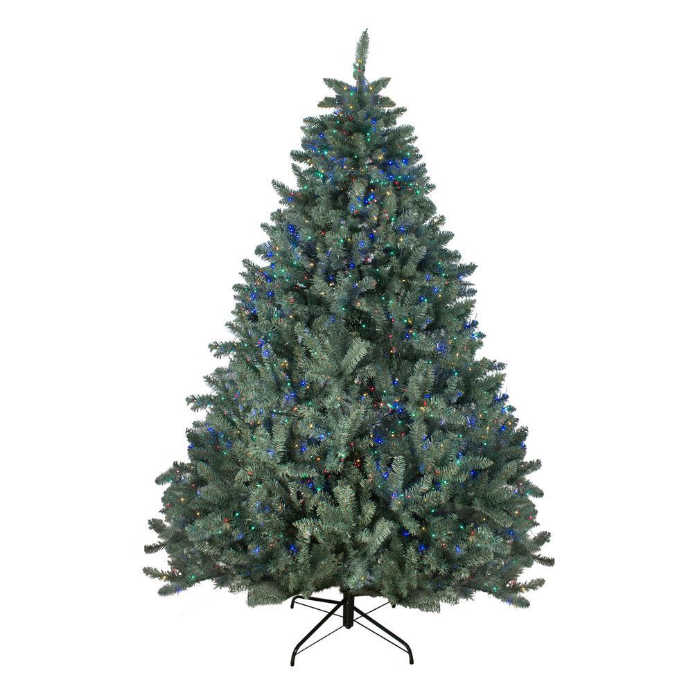 7.5 ft. Pre-Lit Colorado Blue Spruce Artificial Christmas Tree, Multi-Color LED Lights