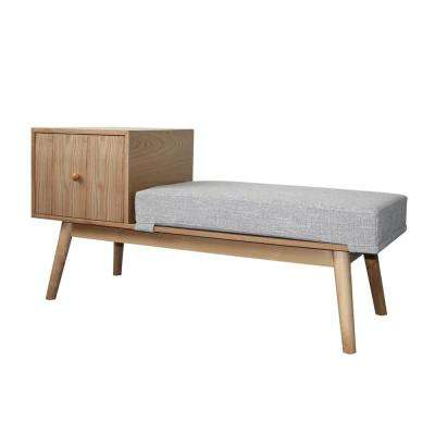 Ilya Mid-Century Modern Cement Gray Heathered Fabric and Natural Faux Wood Storage Bench
