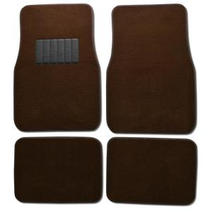 Clic Mt 100 Brown Carpet With Rubberized Backing 4 Piece Car Floor Mats