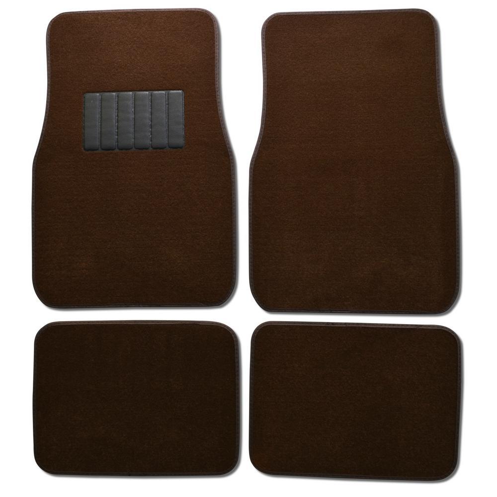 MatLock MT-120 Brown Carpet with Non-Slip Backing 4-Piece Car Floor Mats
