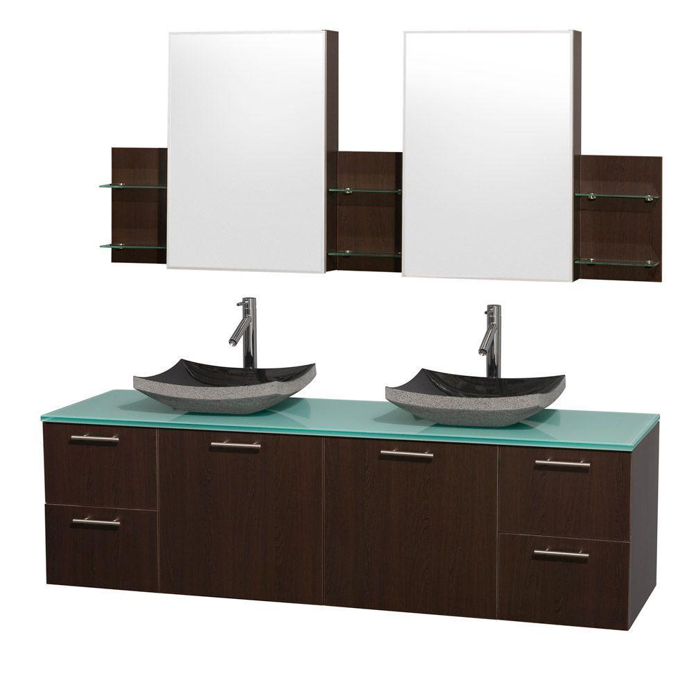 Amare 72 in. Double Vanity in Espresso with Glass Vanity Top in Aqua and Black Granite Sinks
