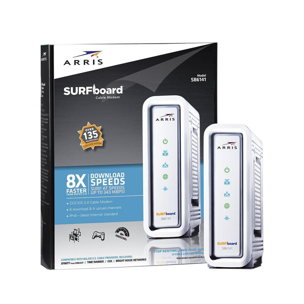 SURFboard Docsis 3.0 8x4 Cable Modem SB6141, White