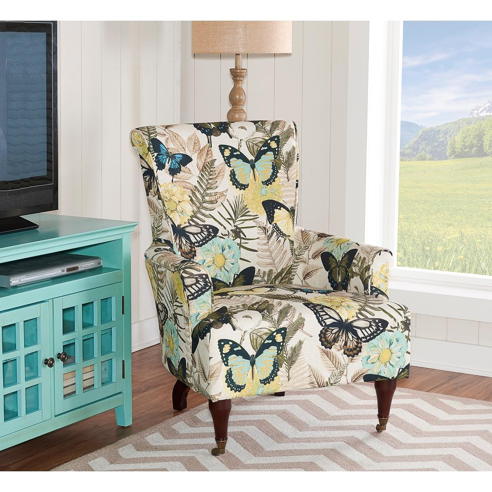 Home Accents Furniture: Linon Home Decor Junnell Botanical Print Polyester Arm