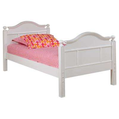 Emma White Twin Bed with Low Headboard and Footboard