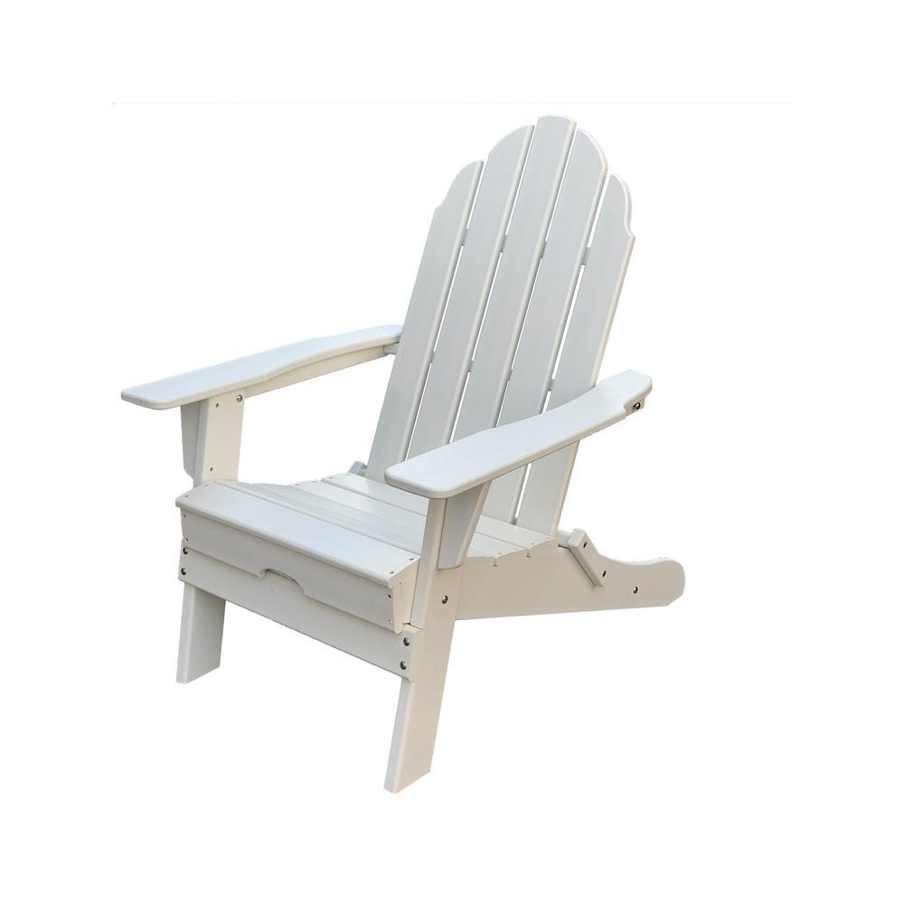 Balboa White Folding Plastic Poly Outdoor Adirondack Chair