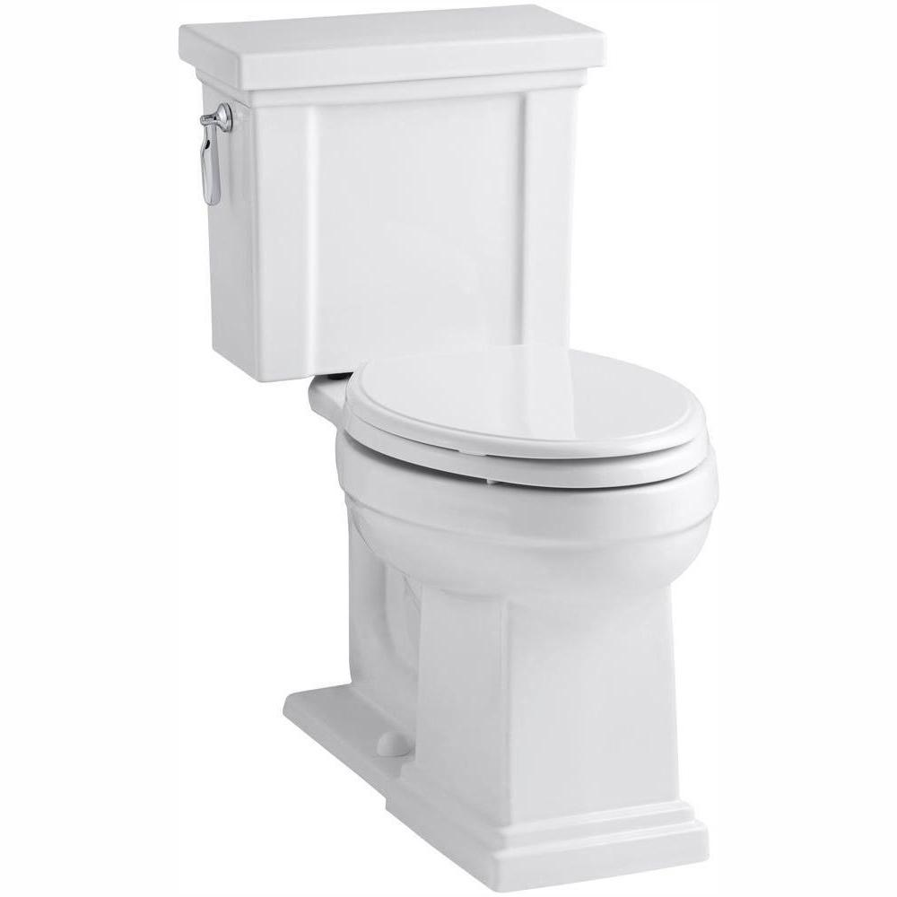 KOHLER Tresham 2-Piece 1.28 GPF Single Flush Elongated Toilet with AquaPiston Flush Technology in White, Seat Not Included