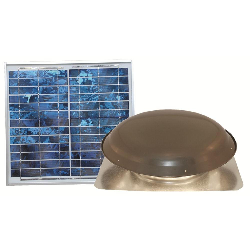 Ventamatic Cool Attic 1000 CFM Grey Solar Powered Roof Attic Vent with Roof-Mounted Solar Panel