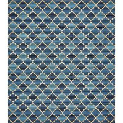 Outdoor Eden Trellis Blue 10' 0 x 12' 0 Area Rug