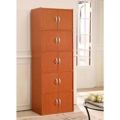 5-Shelf, 67 in. H Cherry Bookcase with Double Doors